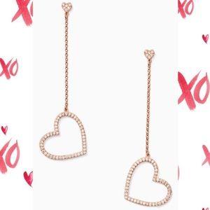 NWT Yours Truly Pavé Linear Heart Drop Earrings